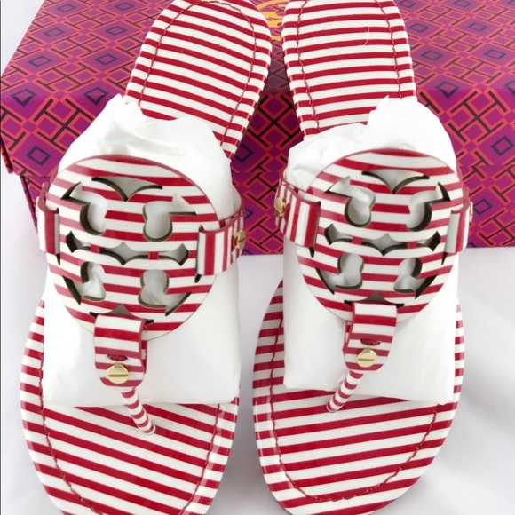 d756b3b804 Tory Burch Shoes | Miller Sandals Red White Stripe New 75 | Poshmark